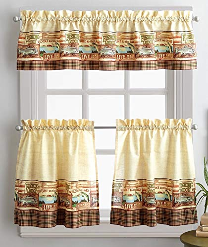 Curtainworks Fishing Lodge 36 in. Curtain Tier - Fishing Decor Lodge