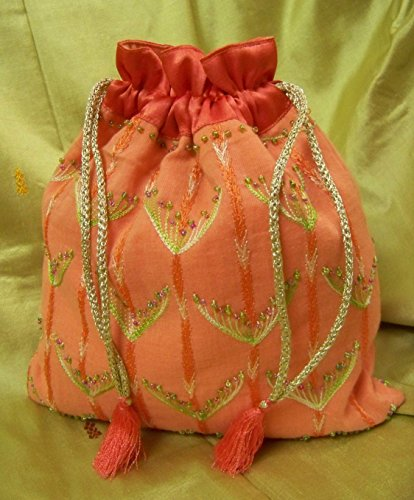 Panigha India Handmade Peach Pink Embroidered Silk Cord Drawstring Pouch for Festive Occasions