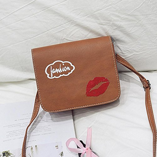 Bolsos de hombro delgados, bolsos del mensajero de las mujeres Bolsos del bolso de Crossbody por Morwind marrón