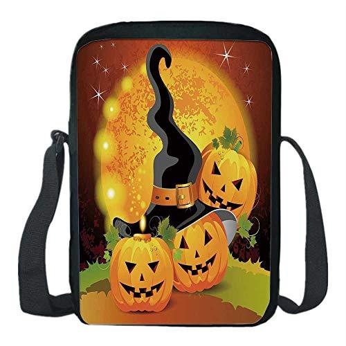 (Halloween Print Kids Crossbody Messenger Bag,Witches Hat Spooky Pumpkins Magical Night Autumn Nature Full Moon for Boys,9''H x 6''L x)