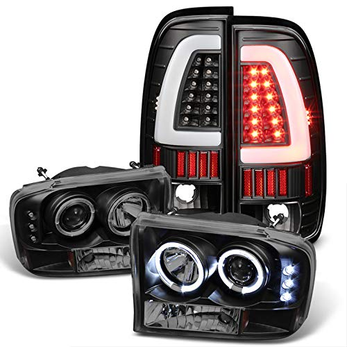 For 1999-2004 Ford F250/F350/F450/F550 Black Smoked Halo Projector Headlights + Light-Bar LED Tail Lights 2000 2001 2002
