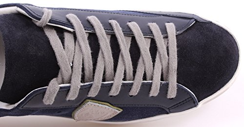 Zapatos Sneakers Hombre PHILIPPE MODEL Classic L U Mixage Blue Sand Made Italy