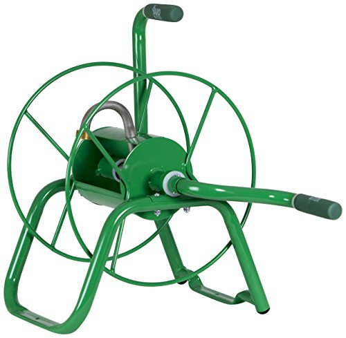 Reel Depot Hose Home (Yard Butler Handy Reel Easy Winding Heavy Duty Metal Garden 75' Water Hose Reel Low Profile Portable Ground Or Wall Mount– IHR-1GRN Green)