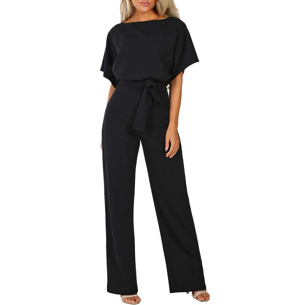 Women's Short Sleeve Boat Neck Jumpsuits Belted High Waist Wide Leg Pants Solid Elegant Loose Rompers 2019 Casual Work Wrap Culottes Outfits