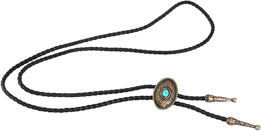 COOLLA Bolo Tie Cowboy Neckties Leather Choker Necklace Vintage Turquoise Pendant Women,Men