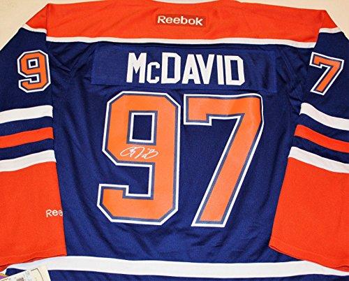 Connor McDavid Signed Edmonton Oilers Reebok Large Jersey Premier W/COA #1