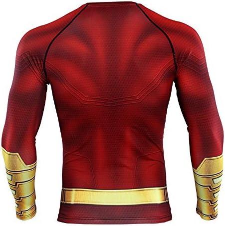 COOLMAX Shazam Compression Shirt for Mens Raglan Sleeve 3D Printed T Shirt