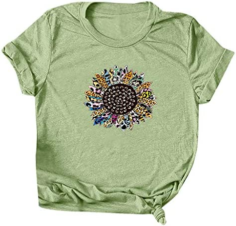 FINME Womens Graphic Tees Loose Casual Creative Stitching Sunflower Print Short Sleeve T-Shirt Soft Tops Blouse