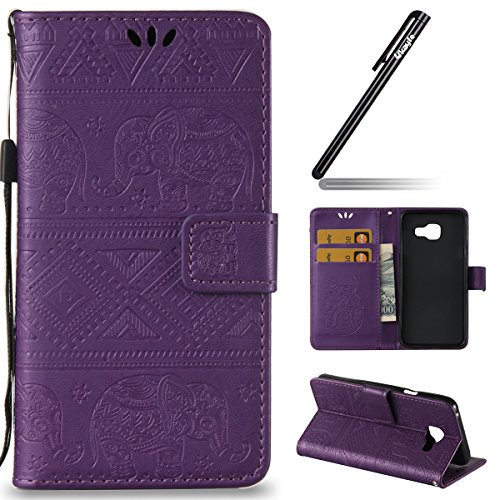 Ukayfe Flip funda de cuero PU para Samsung Galaxy A3 (2016) A310F, Leather Wallet Case Cover Skin Shell Carcasa Funda para Samsung Galaxy A3 (2016) A310F con Pintado Patrón Diseño, Cubierta de la caja Elefante-Púrpura