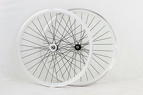 Zerolite Vuelta Track Comp NO Decals 700c Fixie Fixed Gear Single Speed Bike Wheel Set (White)