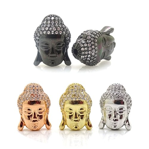 jennysun2010 Clear Zircon Gemstones Cubic Zirconia Pave Buddha Head Bracelet Connector Charm Beads Randomly Mixed 5 Pcs per Bag for Bracelet Necklace Earrings Jewelry Making Crafts Design
