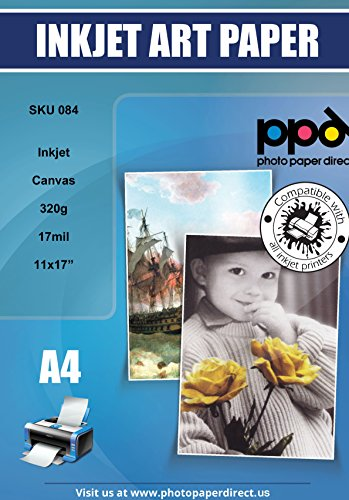 Paper Photo Canvas - PPD Inkjet Canvas 100% Real Printable Cotton Canvas 11 x 17