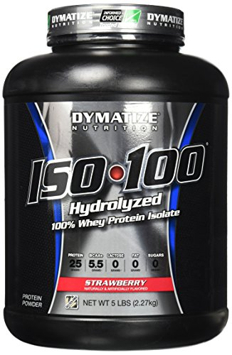 Dymatize ISO 100 Post Workout and Recovery Supplements, Strawberry, 5 lbs (Pack of 6)