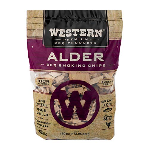 Wood Alder Chips Smoking (Western Premium BBQ Products Alder Smoking Chips, 180 cu inch)