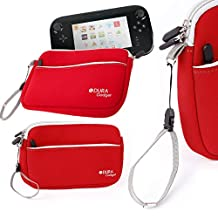 """DURAGADGET Red 8"""" Neoprene Carry Case For New WiiU Controller - With Front Zipped Pocket and Adjustable, Removable Wrist Strap"""