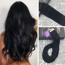Moresoo 24 Inch Remy Tape in Hair Extensions Invisible Adhesive Human Hair 40 Pieces 100 Grams Per Pack #1 Jet Black Glue in Extensions Full Head Set Adhesive Hair Extensions