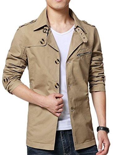Sawadikaa Men's Single-Breasted Cotton Lightweight Jacket Windbreaker Wind Trench Coat Outdoor Jacket Light Khaki Medium by Sawadikaa (Image #2)