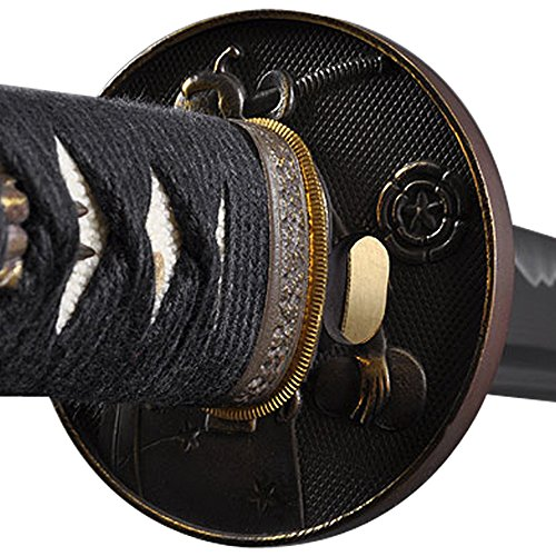 Handmade Sword Hand Forged Carbon Steel Black Wooden Scabbard Samurai Katana Sword - Warrior and Horse