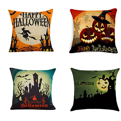 Halloween Throw Pillow (BPFY 4Pack Happy Halloween Pillow Covers Cotton Linen Bat Pumpkin Sofa Home Decor Throw Pillow Case Cushion Covers 18 X 18 Inch)