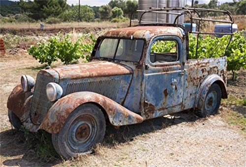(Yeele 10x8ft West Photography Background Rusty Old Abandoned Car Rusty Grassland Weed Classic Cars Photo Backdrops Pictures)