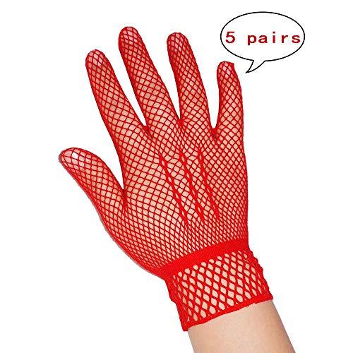 (Kinandpri Nylon mesh Wedding Bridal Gloves,Red)