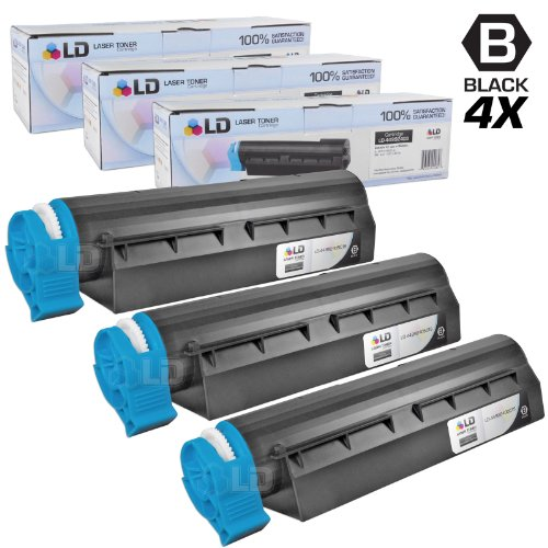 LD Set of 3 Okidata Compatible 44992405 Black Laser Toner Cartridge for The MB451W MFP Printers ()