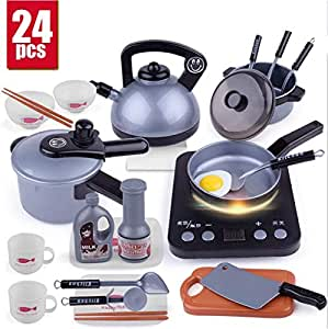 DUSANER Quality goods New 1 Set Pretend Play Toy Children's Microwave Oven Baby Kitchen Toy Simulation Kettle Small Appliances Cooking Toy Boutique light up life (Color : 24 Pcs B)