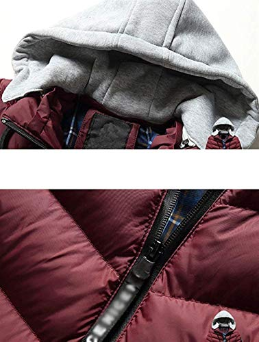 Men's Boy Warm Rot Plus Clásico Casual Thickened Jacket Hat Down Jacket Detachable Fashion Coat Winter HnqxrHwY6O