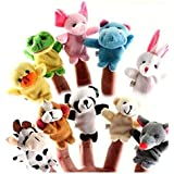 Twister.CK Finger Puppets, Baby Story Time Props, 10 pcs Hand Puppets Set Animal Style Soft Velvet Dolls Props Educational Toys for Baby Toddlers