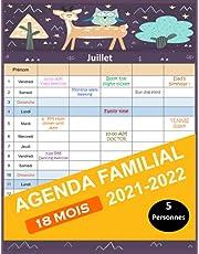 Agenda Familial 2021- 2022: Calendrier familial 18 Mois 2021- 2022 (DE JUILLET 2021 À DÉCEMBRE 2022), Grand Format, Organisateur et planificateur mensuel simple et pratique.