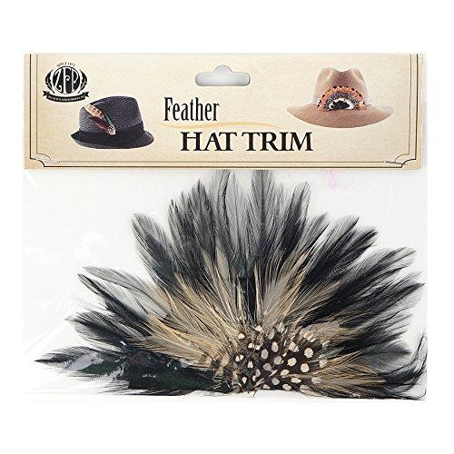 Zucker Feather (TM) - Hackle Feather Hat Crown Beige/Black/Cinnamon (Crown Place)