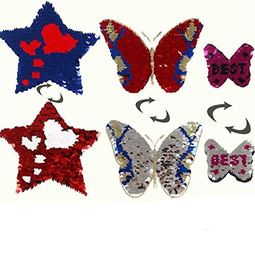 yalulu 3pcs flores mariposa corazón Reversible cambio Color ...