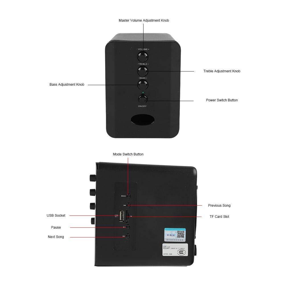Diyeeni Inicio//Altavoces de sobremesa con Bluetooth 2.1 Negro Mini Altavoces USB para computadora Compatible con Tarjeta TF incorporada Radio FM Sonido est/éreo de Alta fidelidad