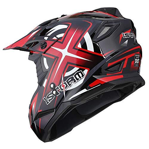1Storm Adult Motocross Helmet BMX MX ATV Dirt Bike Helmet Racing Style HF801; Sonic Red XL (59-60 CM,23.2/23.8 Inch)