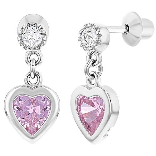 925 Sterling Silver Screw Back Pink Clear CZ Heart Dangle Earrings for Girls