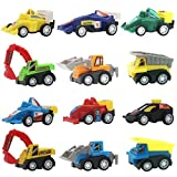 Qntry Mini Pull Back Vehicles, Construction Vehicles and Raced Car Toy for Kids Toddlers Boys Pull Back and Go Car Toy Play Set