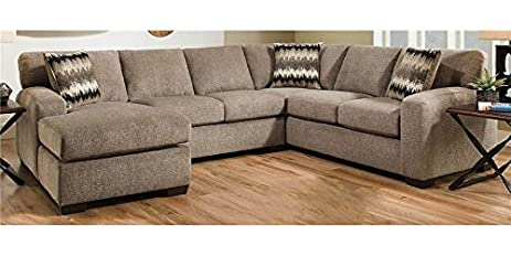 2 Pc Transitional Sectional Sofa Set In Perth Pewter