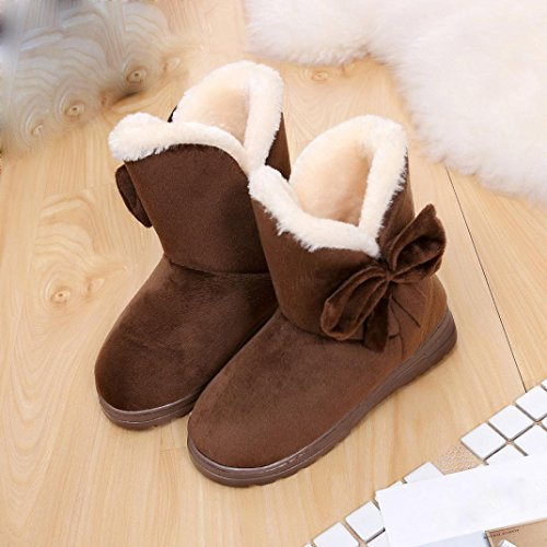 Tenworld Women Cold Weather Boots Bowknot Flat Fur Lined Winter Snow Boots (US 7.5-8, Black) Coffee