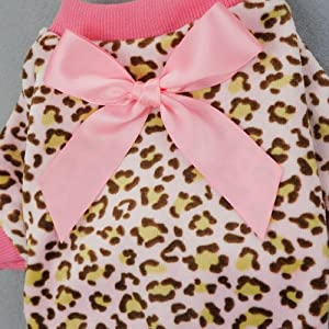 Fitwarm Leopard Ribbon Soft Velvet Dog Pajamas for Pet Dog Clothes Comfy Pjs, X-large