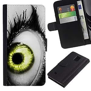 Billetera de Cuero Caso Titular de la tarjeta Carcasa Funda para Samsung Galaxy Note 4 SM-N910 / Vibrant Gray White Black Green Deep / STRONG