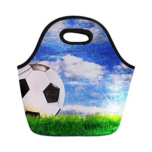 Soccer Pattern Lunch Bags Reusable School Insulated Storage Lightweight Gifts