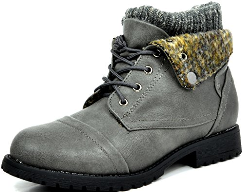 DREAM+PAIRS+TREKER+Women%27s+Fashion+Casual+Combat+Style+Lace+Up+Knit+Cuff+Military+Booties+GREY+SIZE+11