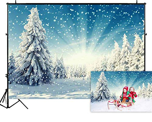 Funnytree 7x5ft Snow Wonderland Pine Tree Backdrop Christmas Winter White Snowflake Forest Photography Background Bokeh Glitter Outdoor Portrait Party Decorations Photobooth Banner Photo Studio Props