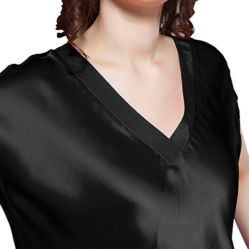 LilySilk 22 Seide Ausschnitt Momme V Schwarz Lang Nachthemd Damen Maulbeerseide Nachtkleider 64r6q