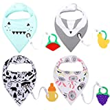 Baby Bandana Drool Bibs with Teether Toys Set 4 Pack 100% Cotton Soft and Absorbent Theething Bibs with Adjustable Snaps