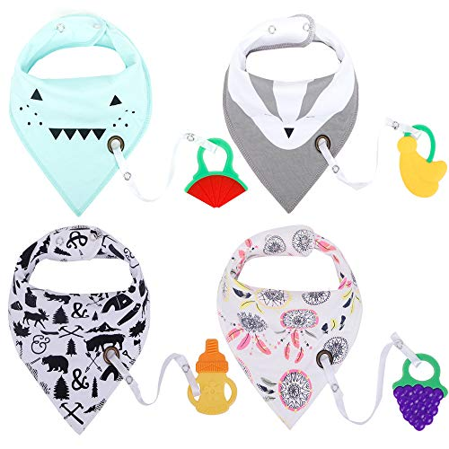(Baby Bandana Drool Bibs with Teether Toys Set 4 Pack 100% Cotton Soft and Absorbent Theething Bibs with Adjustable Snaps)
