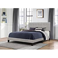 Platform Bed in One with Glacier Gray Fabric (Queen: 88.13 in. L x 64.25 in. W x 45.25 in. H)