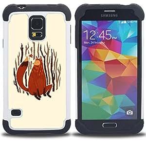 BullDog Case - FOR/Samsung Galaxy S5 I9600 G9009 G9008V / - / Minimalist Forrest Fox /- H??brido Heavy Duty caja del tel??fono protector din??mico - silicona suave