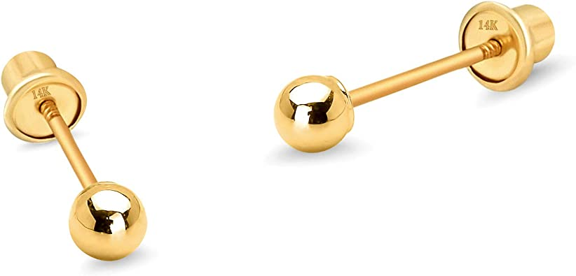 14K Solid Yellow Gold  2mm  Ball Screw Back Stud Earrings Baby Children Girls
