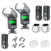 Neewer PRO NW670 E-TTL Photo Flash Kit for CANON Rebel T5i T4i T3i T3 T2i T1i XSi XTi SL1, EOS 700D 650D 600D 1100D 550D 500D 450D 400D 100D 300D 60D 70D DSLR Cameras, Canon EOS M Compact Cameras - Includes: 2 Neewer Auto-Focus Flash with LCD Screen + 2.4 GHz Wireless Trigger (1 Transmitter, 2 Receivers) + Cable-C Cord for Remote Control + 2 Hard & Soft Flash Diffuser + 2 Lens Cap Holder